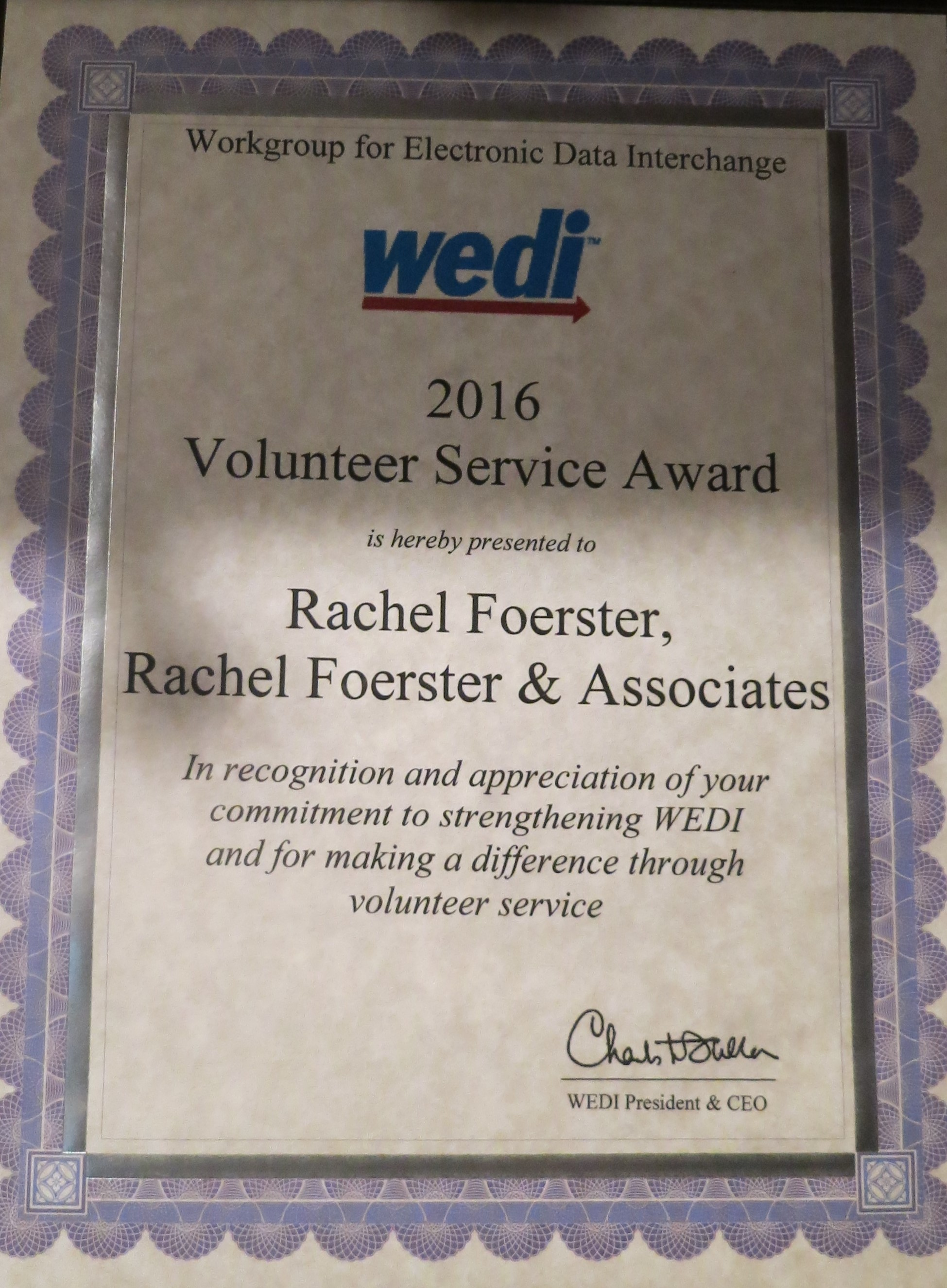 Commitment to Strengthening WEDI and for Making a Difference With Volunteer Service Award